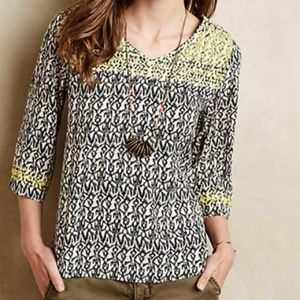 Anthro Embroidered Ikat Blouse Maeve